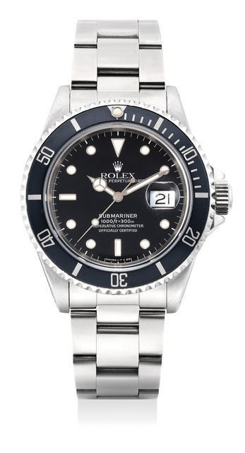 Rolex, 'A fine and attractive stainless steel diver's wristwatch with center seconds, date, bracelet and guarantee', 1991, Phillips