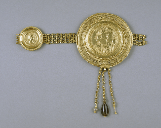 'Belt Section with Medallions of Constantius II and Faustina', Late 4th century , Walters Art Museum