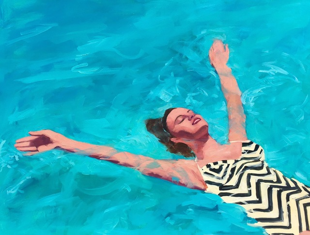 ", '""Watery Delight"" Woman in VintageChevron Bathing Suit Swimming in Turquoise Pool,' 2010-2017, Eisenhauer Gallery"