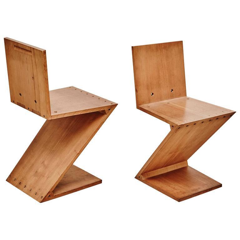 Gerrit Thomas Rietveld | Pair Of Zig Zag Chairs (ca. 1968) | Available For  Sale | Artsy