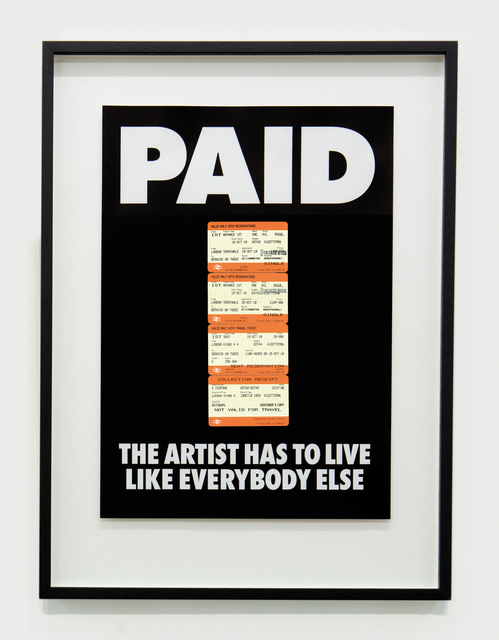, 'PAID: The Artist Has to Live Like Everybody Else, 4 x British Rail tickets: £219 Kings X London to Berwick on Tweed ,' 1987-2018, The Mayor Gallery