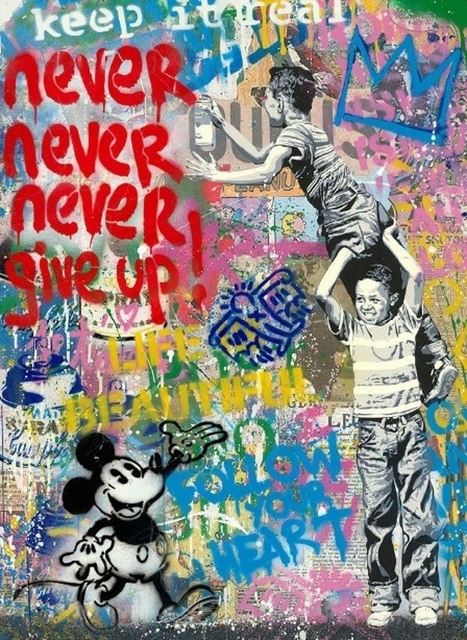 Mr. Brainwash, 'Never, Never Give Up! (Mickey)', 2020, Mixed Media, Silkscreen and mixed media on paper, Frank Fluegel Gallery