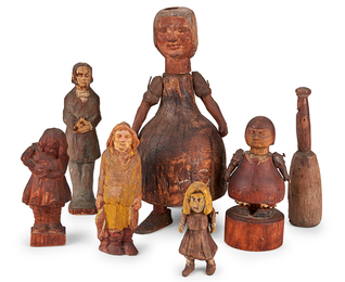 American Primitive Wood Carved Folk Figurines