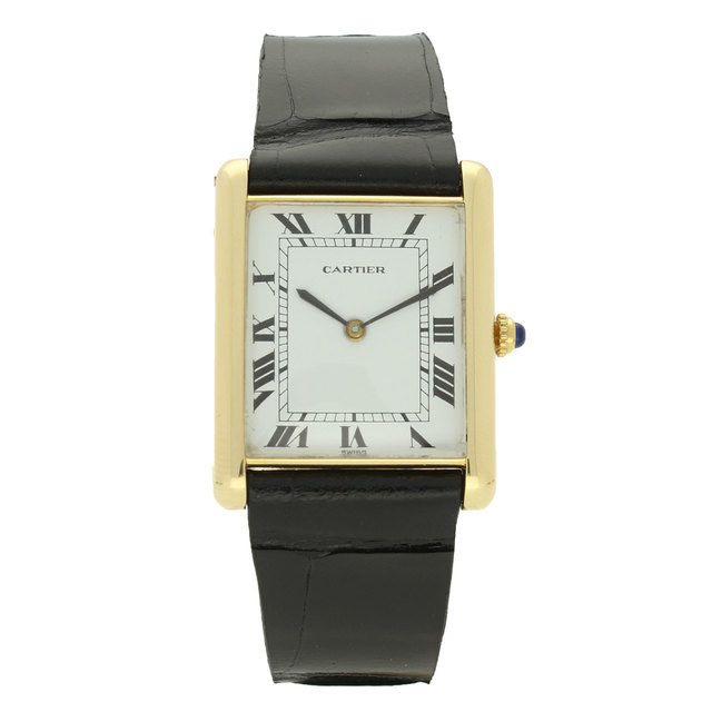 , '18ct yellow gold oversized 'Louis Cartier' Tank automatic wristwatch.,' ca. 1970, Somlo London