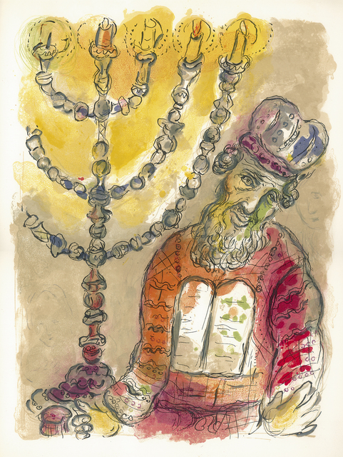 Marc Chagall, 'Aaron and the Candlestick', 1966, Print, Original lithograph in colors, Galerie Fetzer