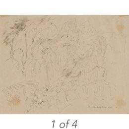 Studies of Babies and Portrait of Alice Bouverie (37-26); Untitled Surrealist Landscape (41-20); Untitled Children (40-44); Study for Fat Man (38-22)