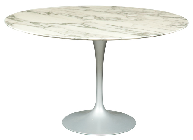 'Eero Saarinen Marble Top Black Metal Tulip Dining Table', 2006, Doyle