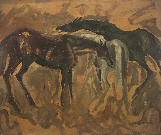 ", 'Early Horses, Oil on Board by Padma Shree Artist Sunil Das ""In Stock"",' 1958, Gallery Kolkata"