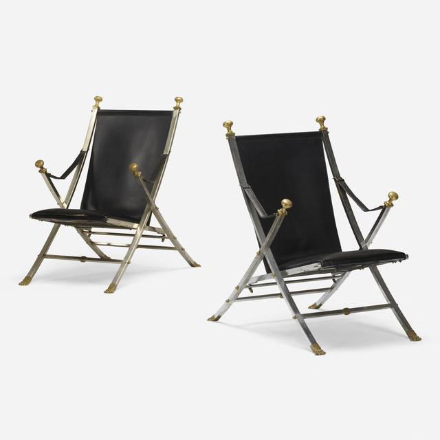 Maison Jansen, 'folding chairs, pair', 1972, Rago/Wright