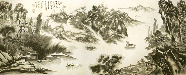 Zhang Yanyun, 'Overlooking the bank of the river on the mountain 登山望滨图 ', 2012, Drawing, Collage or other Work on Paper, Ink and colour on paper, Tian Bai Calligraphy and Painting (天白書畫)