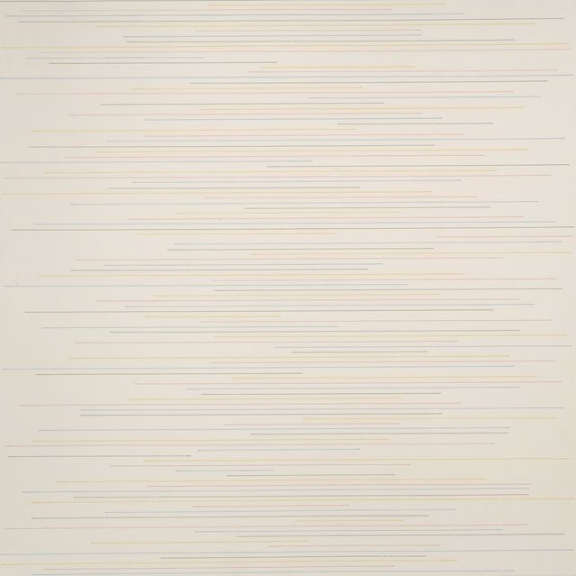 , 'Alternate parallel straight black, yellow, red and blue lines of random length, not touching the sides of the page,' 1972, Rhona Hoffman Gallery