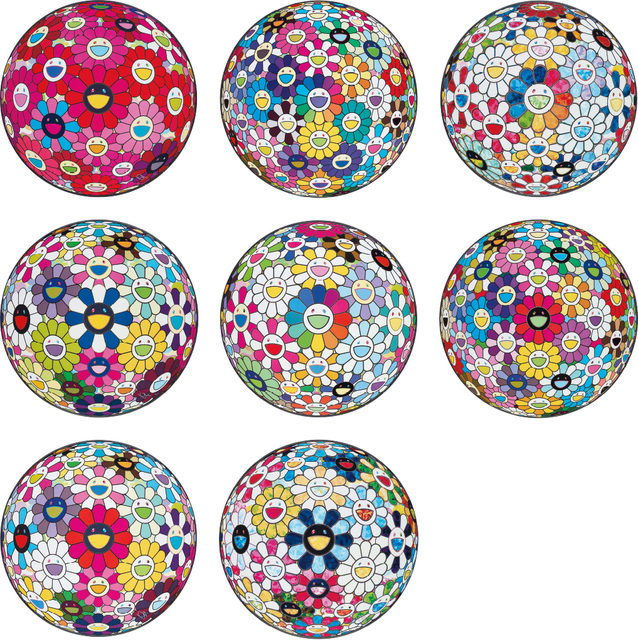 Takashi Murakami, 'Thoughts on Picasso; Thoughts on Matisse; Scenery with a Rainbow in the Midst; Awakening; Flowerball: Want to Hold You; Flowerball Multicolor; Flowerball: Open Your Hands Wide; and The Flowerball's Painterly Challenge', 2014-2015, Phillips