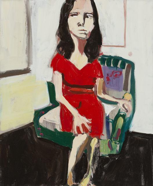 Chantal Joffe, 'NIGHT SELF-PORTRAIT IN RED DRESS', 2014, Cheim & Read
