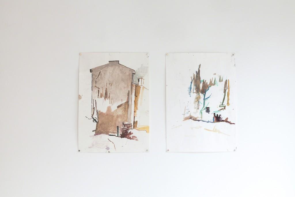 "Katarzyna Badach, exhibition view, ""Bergfassade"", 2012/13 | 40 x 30 cm, aquarell on paper | image: ©dasesszimmer"