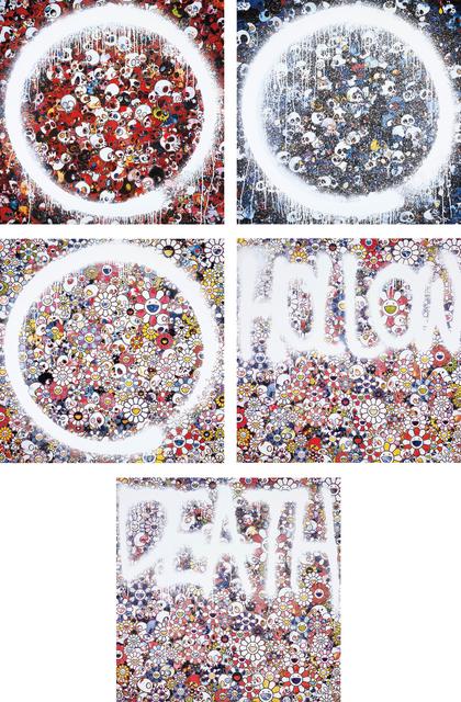 Takashi Murakami, 'Enso: Memento for Red; Memento Mori Red on Blue; Enso: Zen The Heavens; Flower HOLLOW; and DEATH Flower', 2015, Phillips
