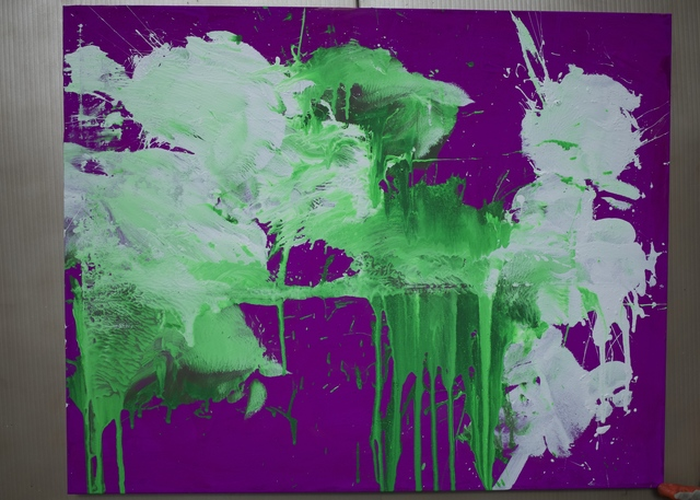Ushio Shinohara, 'White and Green on Violet', 2018, Deborah Colton Gallery