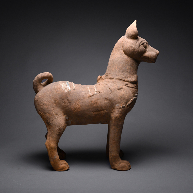 Han Dynasty, 'Han Terracotta Sculpture of a Dog with Green-Glazed Highlights', Han Dynasty-c. 206 B.C. to 220 A.D., Barakat Gallery