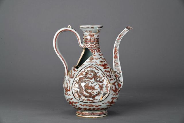 , 'Ewer with dragons and cloud in underglaze blue and overglaze red enamel,' Zhengtong to Tianshun, Ming Dynasty(1436, 1464), Art Museum of the Chinese University of Hong Kong