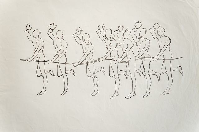 Antonio Hin-yeung Mak, 'Untitled (Seven men with string)', ca. 1975-1990, Drawing, Collage or other Work on Paper, Ink on paper, Blindspot Gallery