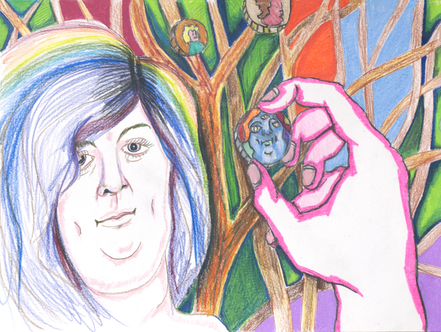 , 'Sarah Huckabee Sander's transgender twin lives in the rainbow forest and mints bitcoin in the tangible image of Gawd,' 2018, CRUSHCURATORIAL
