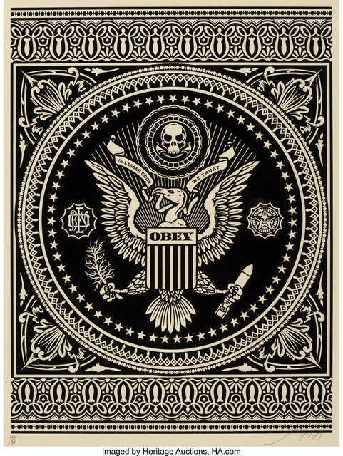 Shepard Fairey (OBEY), 'Presidential Seal (Black and Red) (two works)', 2007, Heritage Auctions