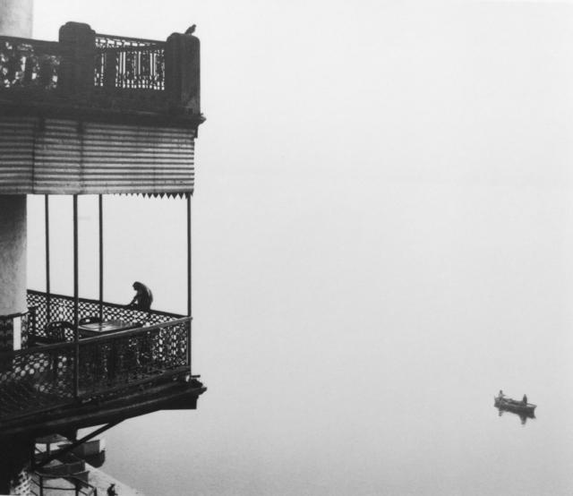 Pentti Sammallahti, 'Untitled (Monkey on Balcony / Two Men in Boat)', 1999, Photography, Gelatin Silver Print, Peter Fetterman Gallery