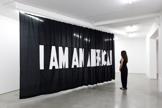 Stephanie Syjuco, 'I Am An...', 2017, Sculpture, Hand-sewn cotton fabric mounted on ceiling track, RYAN LEE