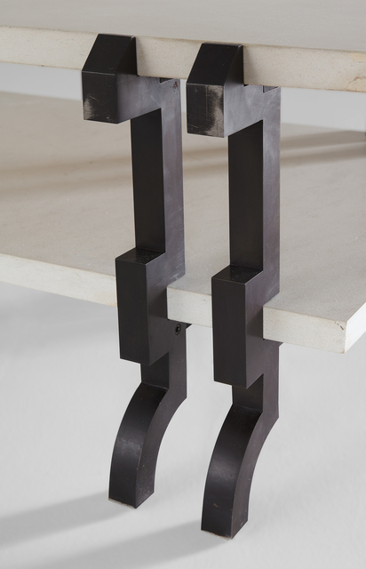 André Dubreuil, 'Coffee table', ca. 2001, Design/Decorative Art, Patinated steel, limestone, Phillips