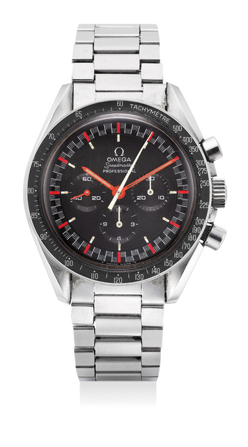 OMEGA, 'An extremely rare and attractive stainless steel chronograph wristwatch with racing dial, bracelet and guarantee', Circa 1968, Phillips