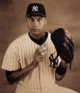 ", 'New York Yankees Shortstop Derek Jeter, from ""The Team that George Built: A Portfolio of the 1998 Yankees"",' 1998, Aperture Foundation"