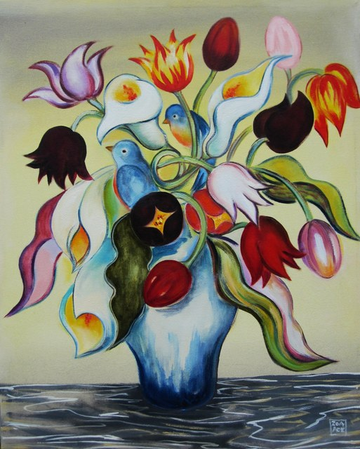 Zoa Ace, 'Bouquet with Blue Birds', Abend Gallery