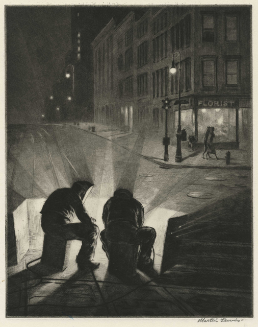Martin Lewis, 'Arc Welders at Night', 1937, Childs Gallery