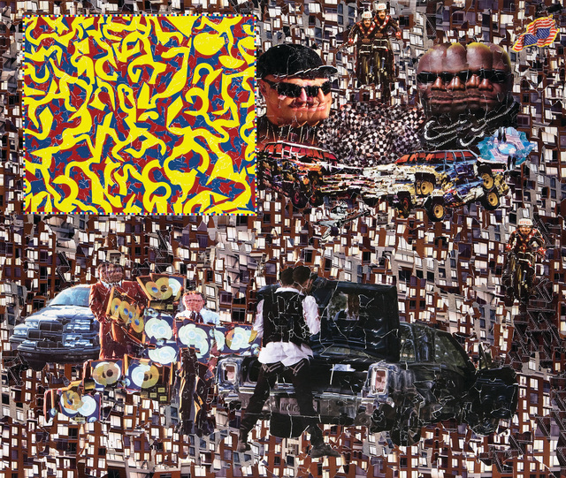 Michael Anderson, 'Gold record car crash', 2008, Drawing, Collage or other Work on Paper, Collage from street posters, Marlborough New York