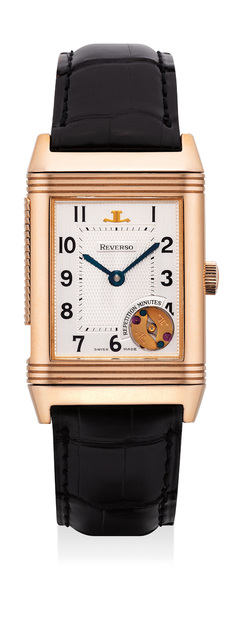 Jaeger LeCoultre, 'A fine and rare pink gold minute repeating rectangular-shaped reversible wristwatch with guarantee and box, numbered 465 of a limited edition of 500 pieces', Circa 1999, Phillips