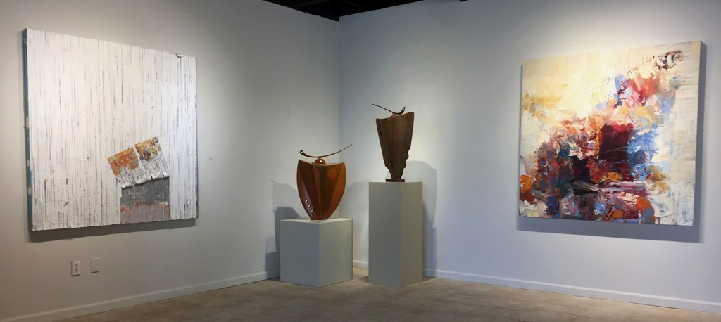 Left to right: Number 12, mixed media by Grace Short; two vessels by Mark Dickson; Criss Cross, painting by Chris Hayman