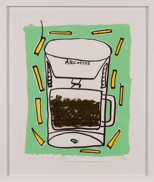 Katherine Bernhardt, 'Mr. Coffee with Fries', 2015, Print, Color screenprint on paper, Doyle