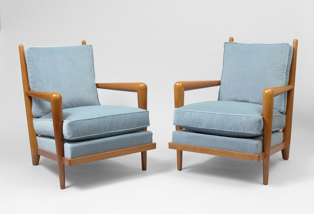 ", 'pair of ""ondulation"" armchairs,' ca. 1955, Galerie Jacques Lacoste"