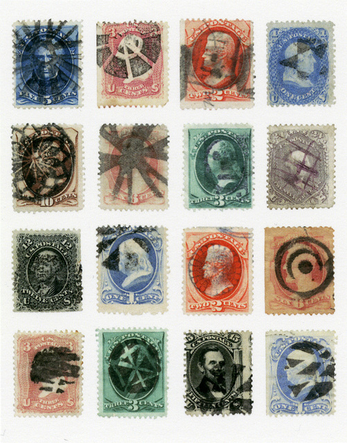 , 'sixteen various large banknote stamps with fancy cancels,' 2013, Pace/MacGill Gallery