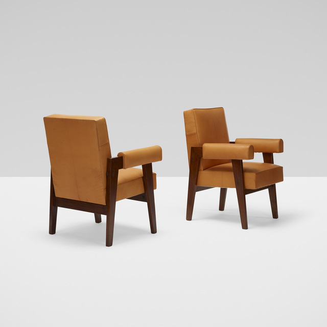 Le Corbusier, 'Bridge armchairs from High Court, Chandigarh, pair', c. 1955, Wright
