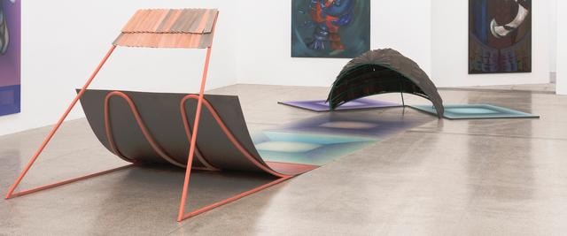 Anne Speier, 'Sehr Interessant', 2018, Sculpture, Screen print on PVC, lacquered steel, wood, Galerie Meyer Kainer