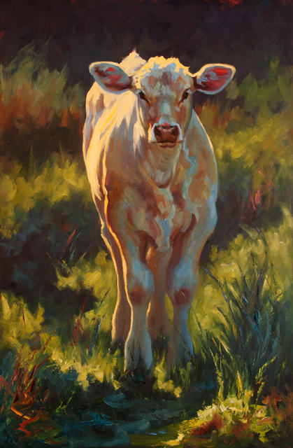 "Cheri Christensen, '""Fredrickburg Calf"" Impressionist style oil painting of  a white calf in green grass', 2019, Eisenhauer Gallery"