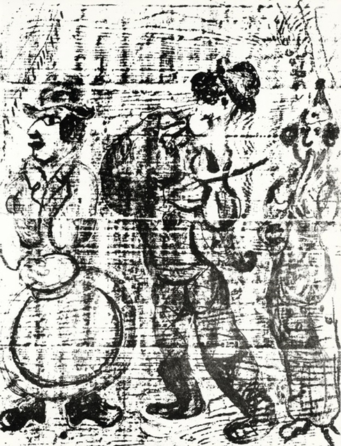 Marc Chagall, 'The Wandering Musicians', 1963, Print, Original lithograph in black and white Vellum paper, michael lisi / contemporary art