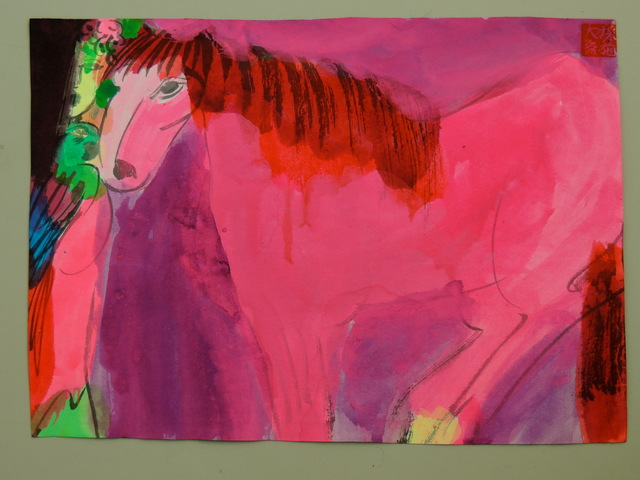 , 'Pink/red horse and woman,,' ca. 1989, Bert Kuipers Kunsthandel