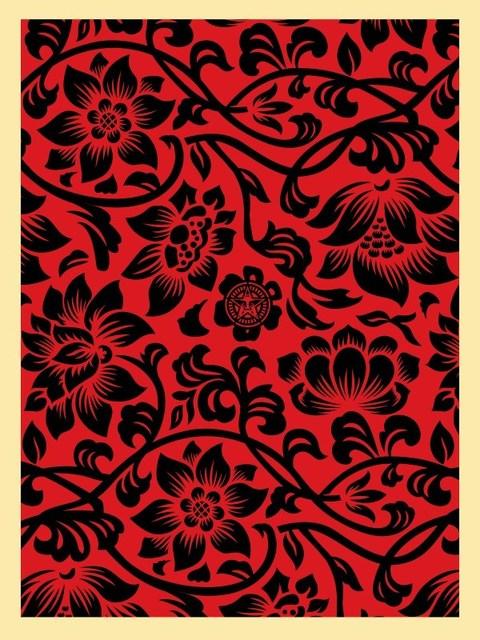 Shepard Fairey, 'Floral takeover black red', 2017, Screenprint on paper, Rudolf Budja Gallery