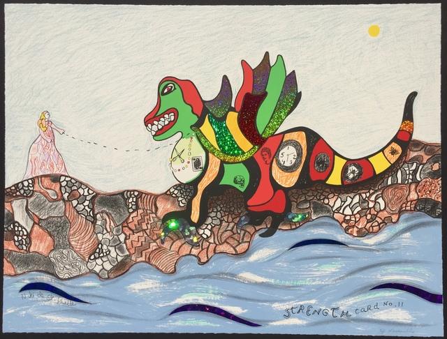 Niki de Saint Phalle, 'Strength - Card No.11', 1998, Print, Lithograph with Glitter Collage, Denis Bloch Fine Art