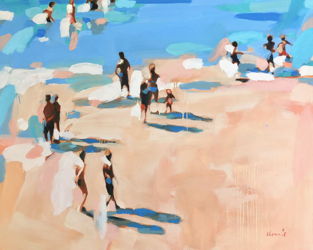 """Elizabeth Lennie, '""""Beachlife 30"""" Abstract oil painting of figures on the beach by the blue shore', 2018, Eisenhauer Gallery"""