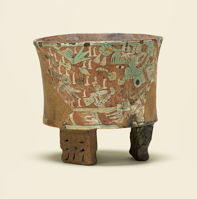 , 'Tripod vessel with blowgunner,' 450-550, de Young Museum
