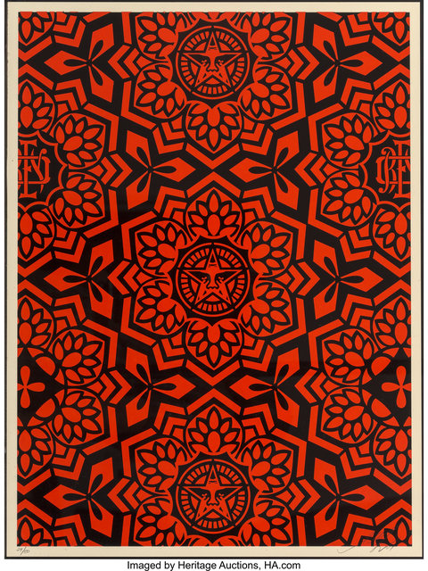 Shepard Fairey (OBEY), 'Yen Pattern (Gold and Red/Black)', 2007, Heritage Auctions