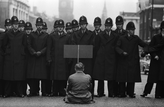 Don McCullin, 'Protester, Cuban Missile Crisis, Whitehall, London', 1962, Howard Greenberg Gallery