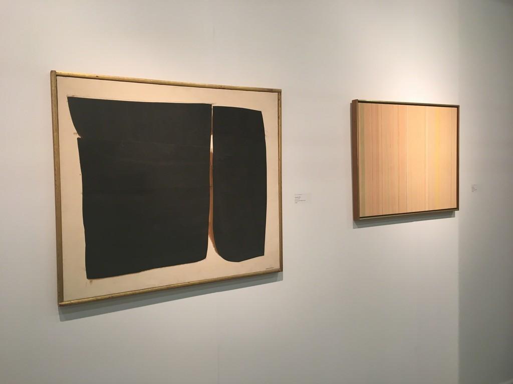 "Conrad MARCA-RELLI: F-M-11-67, 1967, oil and canvas collage, 32 x 36""; Gene DAVIS: Sand Hog, 1972, acrylic on canvas, 23 x 29"""
